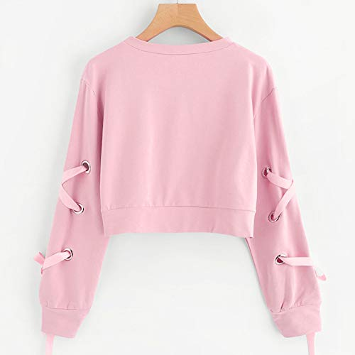 Sweatshirt Lace Up Solid Crop Long Casual Pink Top Women's Pullover Morwind Sleeve wSEFvz