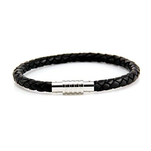 Aagaard Mens Jewellry Black Leather Bracelet 19 cm