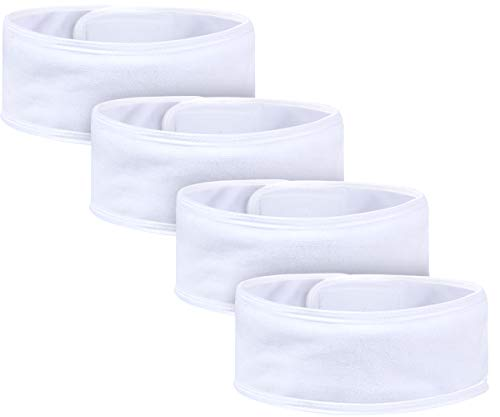 VIVOTE Spa Headband Adjustable Soft Terry Cloth Hair Wrap Hair Band for Washing Face Makeup and Shower 4 Pack Assorted Colors (White+ Gray+Pink+Purple)