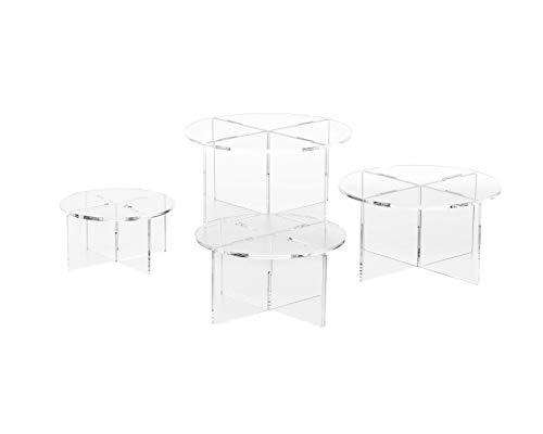 Clear Choice,4 Acrylic Round disassemble Riser Display Stand | Multipurpose Tabletop Risers for Displaying Personal or Business Decor, Cupcakes | Clear, Stable (Large) ()