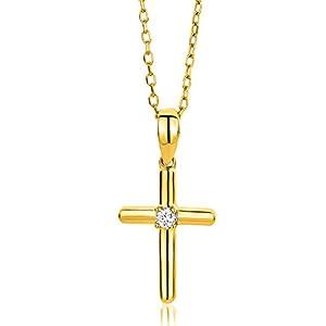 Miore Bijoux pour Femmes Collier avec Pendentif Croix et Diamant Solitaire 0.03 Ct Chaîne en Or Jaune/Or Blanc 9 Carats…