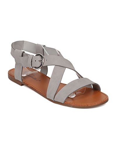 Breckelles Women Open Toe Sandal - Cross Band Flat Sandal - Casual Walker Sandal - HA22 by Grey Leatherette Yccwady7