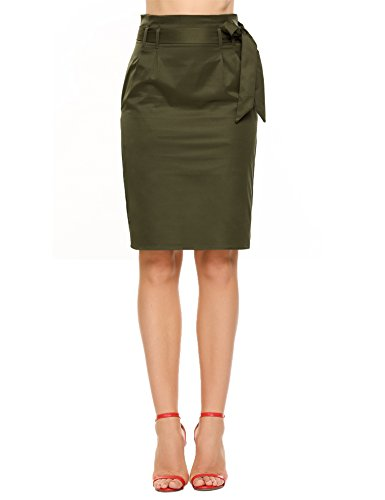 Zeagoo Women's Casual Pencil Skirt with Belt and (Slant Pockets Skirt)