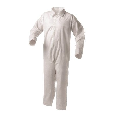 Kleenguard A35 Disposable Coveralls (38919), Liquid and Particle Protection, Zip Front, Open Wrists & Ankles, White, XL, 25 Garments/Case by Kimberly-Clark Professional