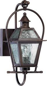 French Quarter One Light Outdoor Wall Lantern with Clear Hurricane Glass Shade in Oiled Bronze