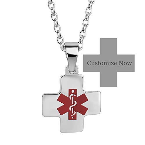 Murinsar Custom Durable Surgical Stainless Steel Cross Medical Alert Necklace for Men Women Allergy Alarm Awareness ID Pendant Free Engraving