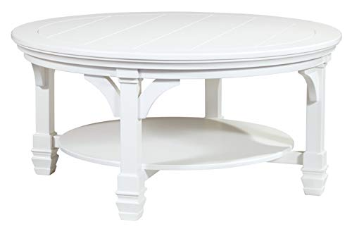 - Ashley Furniture Signature Design - Mintville Contemporary Round Cocktail Table - White