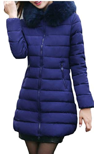 Thicker Jacket Womens Long Blue security Warm Sapphire Outwear Winter Zip Sleeves gqtn8FxH