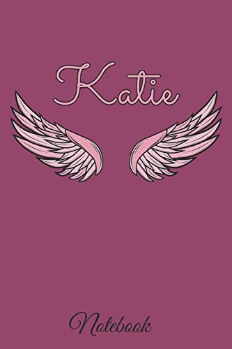 Katie Notebook: A beautiful personalized angel wings soft cover notebook with 100 lined pages in 6x9 inch format. | Personal Diary | Personalized Journal | Customized Journal por MatDesignz