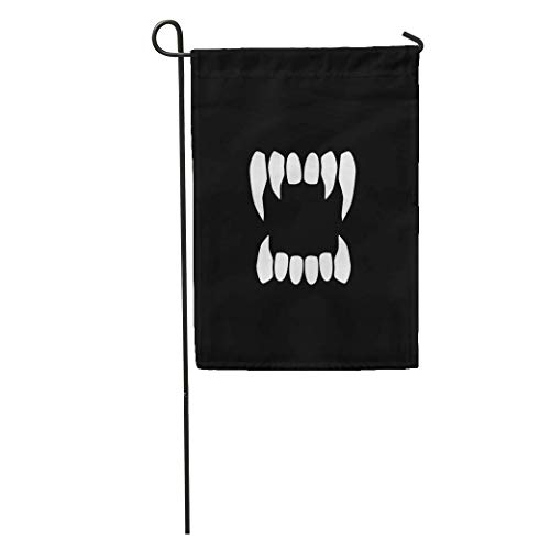 Nfuquyamluggage Garden Flag Tooth Vampire Teeth Neutral Fang Dracula Scary Halloween Mouth Sharp Home Yard House Decor Barnner Outdoor Stand 12x18 Inches Flag -