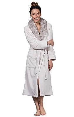 PajamaGram Faux Fur Trim Ultra-Soft Plush Wrap Robe For Women, Ivory