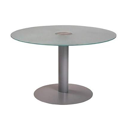 Mesa redonda Ø 120 pie columna aluminio tablero cristal: Amazon.es ...