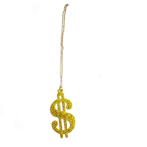 (Novelty Giant Plastic Party 30'' Chain Dollar Sign Necklace Decor Gold Bling)