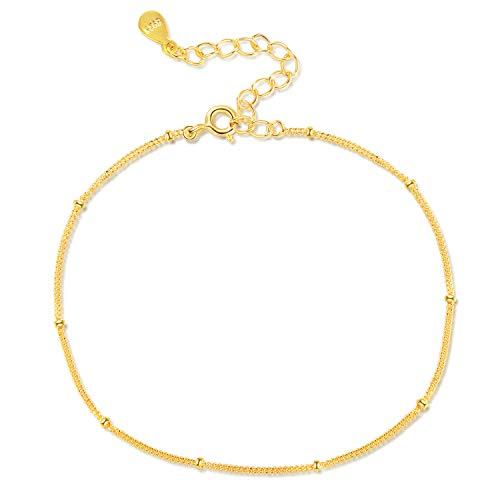 Dainty Bracelet for Women Girls 14K Gold Sterling Silver Adjustable Beaded Chain Link Bracelets 7