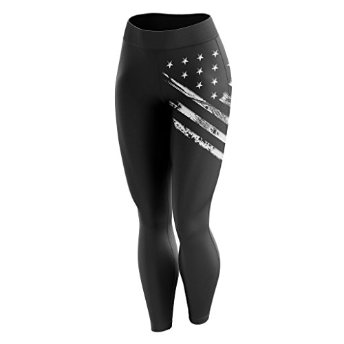 American Flag Workout Pants - Tactical Pro Supply American Flag Leggings for Women, Workout High Waist Yoga Pants for Ladies - Large