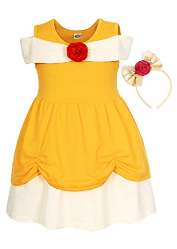 AmzBarley Little Girls Princess Belle Dress Kids Halloween Holiday Party Costume Cosplay School Shown Fancy Dress up Cotton Outfits Yellow with Headband Size 3-4 Years]()