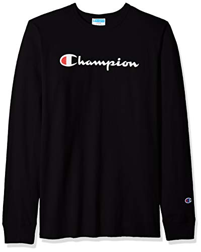 Champion LIFE Men's Heritage Long Sleeve Tee, Black/Ink Graphic/Script, Large