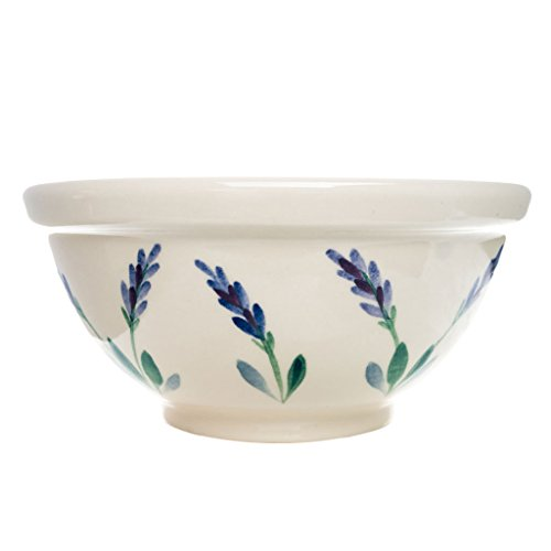 Of Soup Bowl Costume (Ceramic Round Serving Bowl with Unique Decorative Lavender Flower Design by Arousing Appetites - 2 Quart Cream White Stoneware Serveware for Salad, Pasta, Vegetables, Popcorn and)