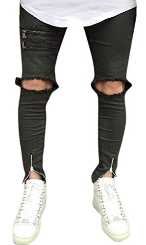 Men's Black Skinny Fit Ripped Jeans Slim Open Holes Pants with Zipper Details 36