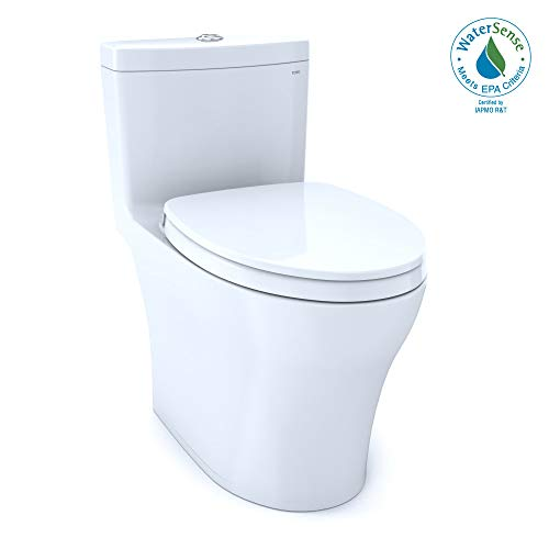 TOTO MS646124CEMFG#01 Aquia IV One-Piece Elongated Dual Flush 1.28 and 0.8 GPF Universal Height, WASHLET+ Ready Toilet with CEFIONTECT, White-MS646124CEMFG, Cotton White