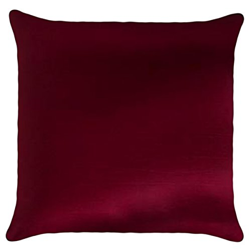 That's Perfect! Solid Color Decorative Silk Throw Pillow Sham - Fits 18' x 18' Insert (Burgundy)