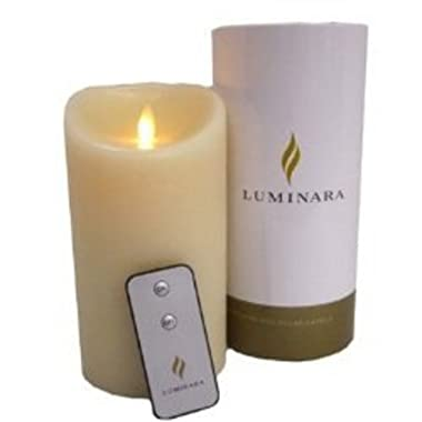 Luminara Deluxe 4  x 9  Remote Wax Candle Ivory Cream Color
