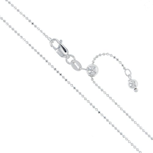 Sterling Silver Adjustable Diamond-Cut Ball Bead Chain 1.2mm 925 Italy Dog Tag Necklace 22