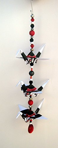 """""""Good Luck"""" Southwestern design crane mobile for indoor decor. 16"""" height and 5.5"""" wide. A unique handmade origami accent piece."""