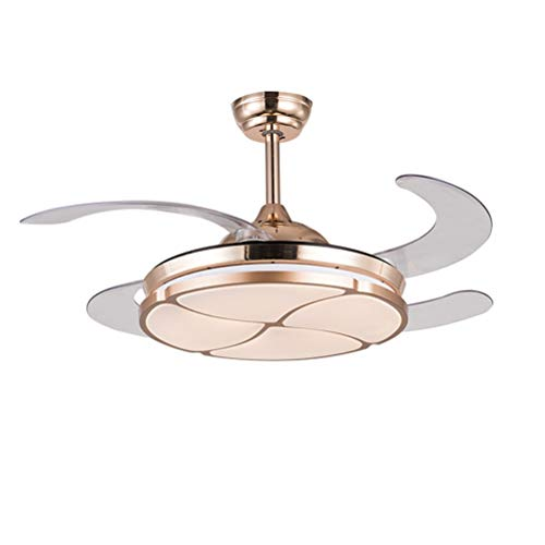 Petals Pendant Lighting - SNOOKER 42inch Ceiling Fans with Lamp, Restaurant Fan Chandelier, Simple Home Fan Pendant Lighting, Four Leaf Petals, Wall Control Switch, Gold -0259 (Size : 42in)