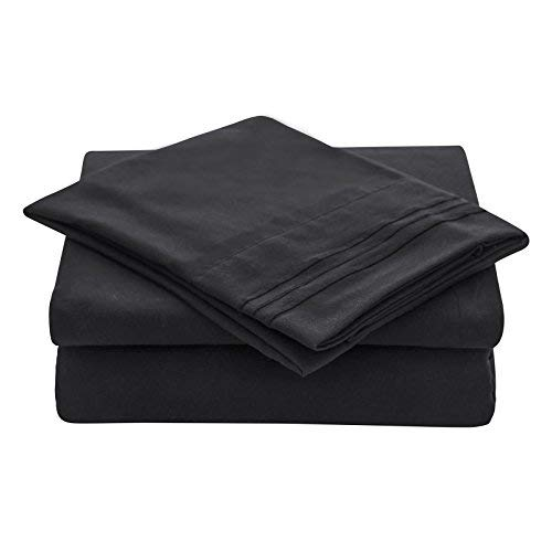 VEEYOO Bed Sheets Set Queen Size, Extra Soft 1800 Brushed Microfiber Sheets Set, Wrinkle Fade Stain Resistant Deep Pocket, Luxury Comfortable Breathable 4 Piece Bedding Sheets, Black (Gold Black Bed Sheets)
