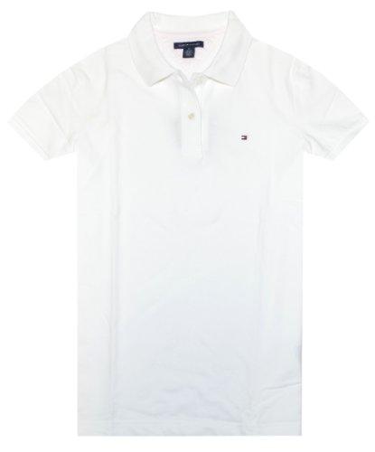 (Tommy Hilfiger Women Easy Fit Logo Polo T-Shirt (XS, White))