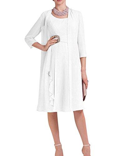 Robe De Mère De Mariée Avec La Veste Courte À Manches 3/4 2 Pcs Mousseline De Perles Taille Plus Blanc