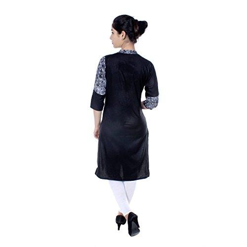 Chichi Indian Women Kurta Kurti 3/4 Sleeve Medium Size Plain with One Side Printed Straight Black-White Top by CHI (Image #4)