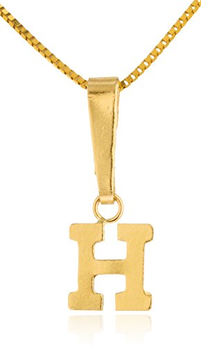 Price comparison product image Choose Your Initial - 14k Yellow Gold Small Pendant with a 14k 18 Inch Box Necklace (H) (GO-1080 + GO-1101)