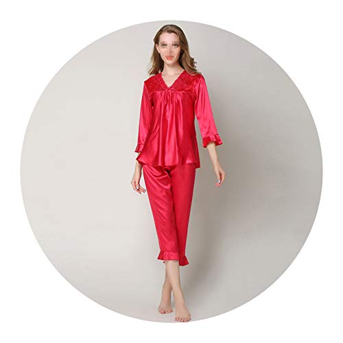 Embroiderye Homewear Pocket Women's Silk Satin Long Pajamas Spring Autumn Sleepwear,Red,L -