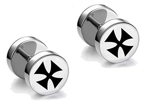 Iron Cross Earrings for Men Women Statement Earing Stainless Steel Screw Back Black Silver Ironcross HYPOALLERGENIC ()