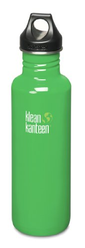 Klean Kanteen 27 oz Stainless Steel Water Bottle (Loop Cap 3.0 in Black) - Organic Garden
