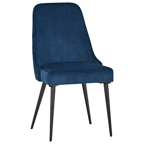 Rivet Modern Foam-Padded Dining Chair, Set of 2, 35.25″H, Blue