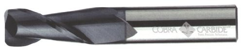 Cobra Carbide 19240 Micro Grain Solid Carbide Regular Length General End Mill Pack of 1 30 Degrees Helix 1 Cutting Length 0.060 Radius Corner End 2 Flute TiAlN Coated 1//2 Cutting Diameter 3 Length