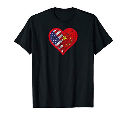 America and China - Two Countries One Heart Tee Shirt