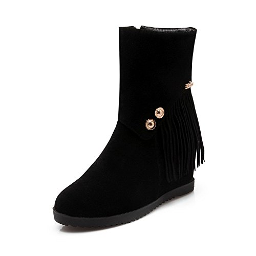 Boots Black Fringed Women's Zipper Frosted Round Closed Heels Kitten AmoonyFashion Toe ZzvgqaZ