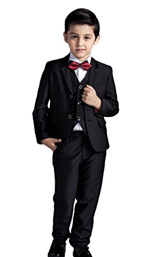 ICEGREY Boys' Boys Formal Dresswear Set With Vest, Bow Tie Black 12 Years by ICEGREY