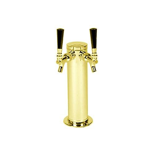 (KegWorks D4743DT-PVD-2 Double Tap Brass Draft Beer Kegerator Tower - 3