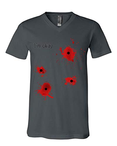 I'm Okay Halloween V-Neck T-Shirt Funny Bullet Hole Blood Stained Tee Charcoal 3XL -