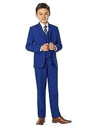 Shiny Penny, Boys blue formal 5 piece suit set with shirt & vest, 3T
