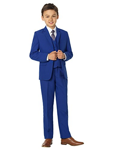 Shiny Penny, Boys blue formal 5 piece suit set with shirt & vest, 18