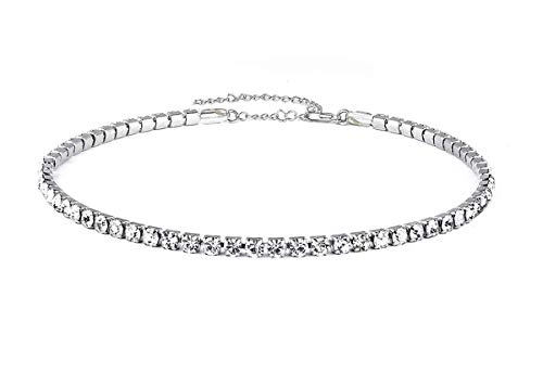 (Mooinn Clear Crystal Choker Necklace Rhinestone Crystal Silver Chain Necklace for Women Girls)