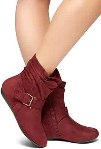7ab4069020d1 Herstyle SHEARLLY Faux Suede Buckled Up Side Zipper Slouch Ankle Booties  Flat Heel Calf Boots(