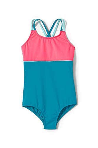 One Colorblock Piece - Lands' End Girls Cross Back Colorblock One Piece Swimsuit Vivid Teal