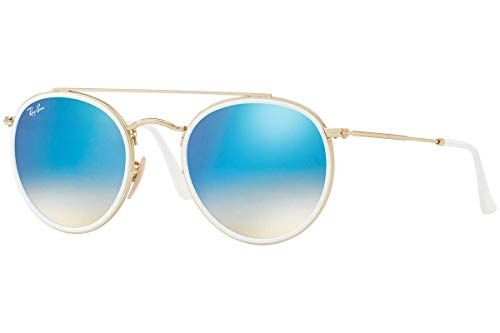 Ray-Ban RB3647N Round Double Bridge Sunglasses, Gold/Blue Gradient Flash, 51 ()